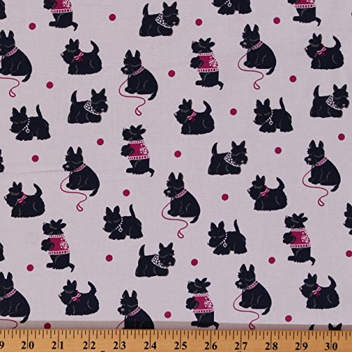 Dog Fabric Scottie (Cotton Bespoke Blue Scotties Dogs Animals Puppies on White Cotton Fabric Print by Yard (CX6361-JEWE-D))