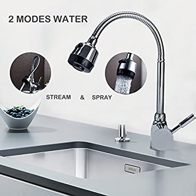 Single Handle Sprayer Kitchen Sink Faucet 360 Rotatable Pull Down Hot and Cold Water Faucet for Laundry Room Garden Outdoor by Churun
