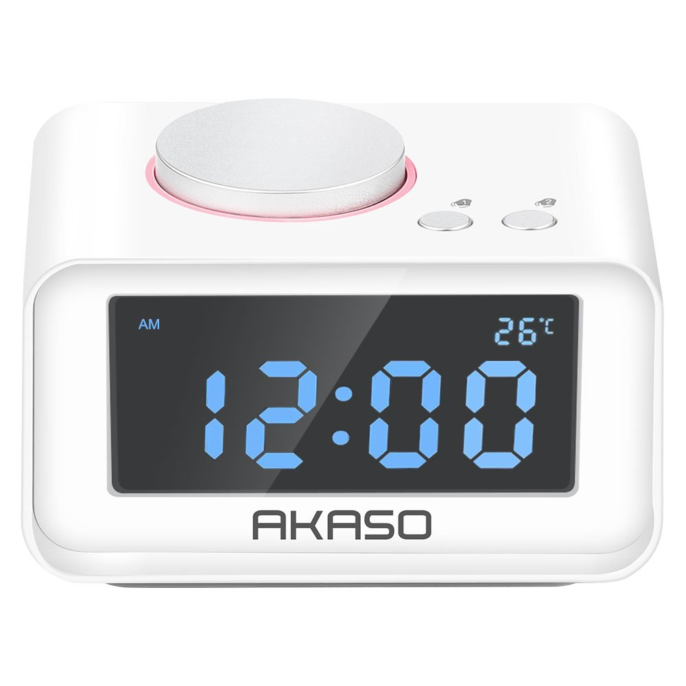 Alarm Clock Radio, AKASO Digital Alarm Clock for Bedroom with Snooze Function, 5 Dimmer Brightness, Thermometer, Dual Alarm Clock - USB Charging port for iPhone/iPad/iPod/Android and Tablets, White