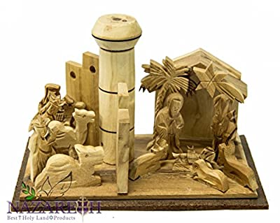 Bethlehem Nativity Wall With Tower Hand Carved Olive Wood Set Holy Land