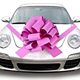 Quacoww Pink Giant Car Bow Car Pull Bow for Weeding Car Decoration, Christmas Decoration: more info