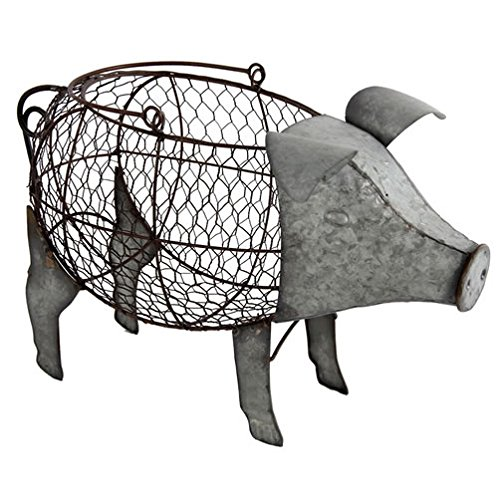 A&B Home Metal Pig Basket, One Size, Silver ()