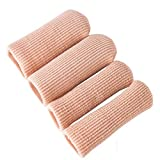 4pcs Adjustable Cuttable Gel Toe and Finger Cap Lined Gel Toe Covers Sleeves Ribbed Knit Toe Caps Silopad Digital Caps