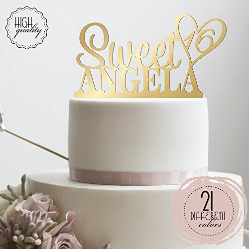 Personalized Sweet Sixteen Cake Topper 16th Birthday Cake Topper Customized Name Quincea–era Cake Topper | Mirrored Cake Toppers (16th Birthday Cake Ideas)