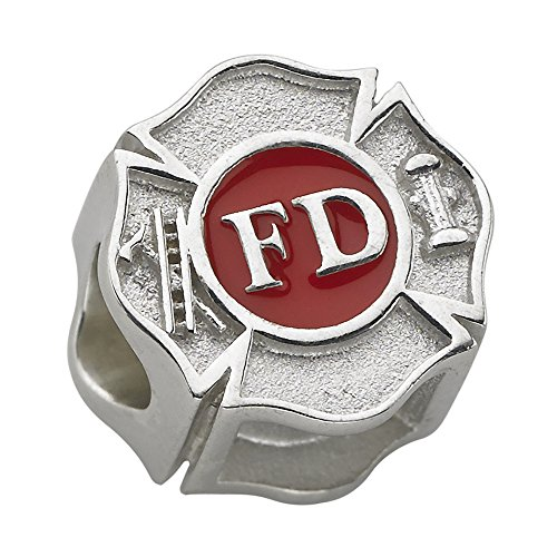 (Fire Department Maltese Cross Charm - Fits Pandora Bracelet - Sterling Silver)