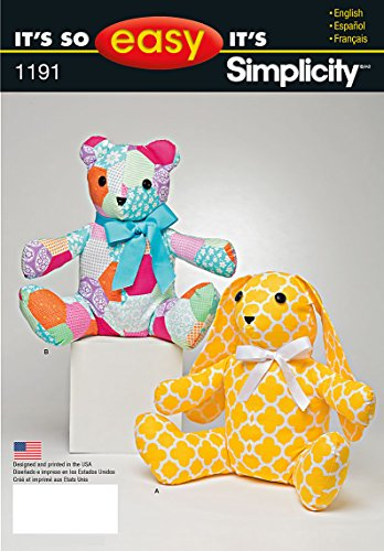 Simplicity Patterns US1191OS It's So Easy Stuffed Animals, OS (ONE Size)