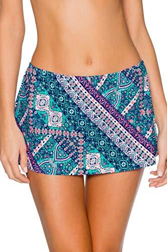 (Sunsets Women's Kokomo Swim Skirt Mid Rise Bikini Bottom Swimsuit, Grand Bazaar, Large)