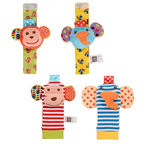 FunsLane Baby Rattle 4 Pcs Baby Wrist Rattles and Foot Finder Set Sock Toys Developmental Soft Animal Toys Adorable Monkey and Elephant Style Baby Shower Gifts