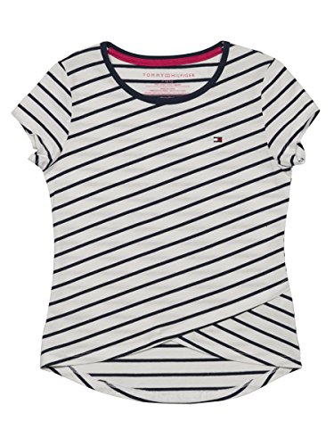 Tommy Hilfiger Big Girls' Tee, White/Cross Stripes, Medium