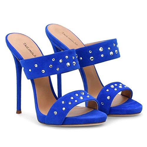 Alto Moda Muller Blue Altissimo Aggiornamento Dance Sexy Donna Tacco 3301 45 Elegante KJJDE Di Strass TLJ Sexy Pole wvqt01H