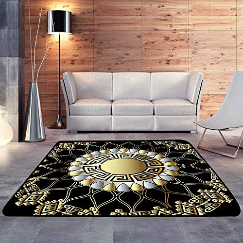 Baby Care Play Mat,Greek Floral d Round Vector Mandala patternW 47