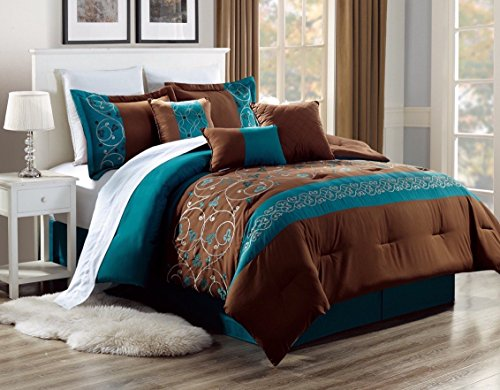 MB Collection 7 Pieces Embroidery Comforter Set King Size Brown and Turquoise Stripes with Turquoise Flowers #Alex10 King Size Comforter Set