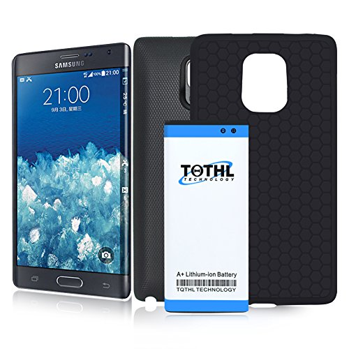 TQTHL Samsung Galaxy Note Edge 7300mAh Best Replacement Extended Li-Ion Battery with Black Back Cover & HoneyComb Matte TPU Case -Black [ 24 Month Warranty ]