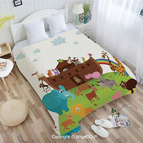 AngelDOU Printed Super Soft Warm Bed Throw Blanket W31 xL47 Various Safe Animals Two of Every Kind Boarding Noahs Ark Clip Art Design Print for Women Men Girls Kids Pet.