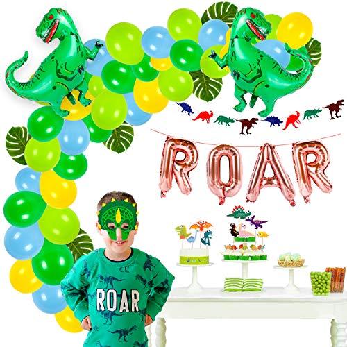 63 pieces Dinosaur Party Supplies - Dinosaur Birthday Party Supplies |Dinosaur Balloons, Dinosaur Mask, ROAR Banner, Cake Topper for Boys Dinosaur Theme Party, Dinosaur Party Favors, Jungle Theme Decor