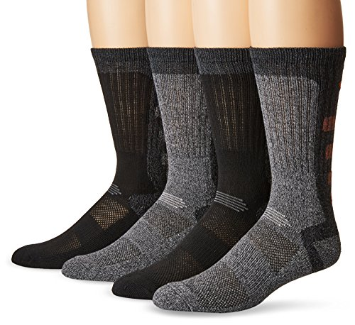 Columbia Men's 4 Pack Wool Crew Socks, Black/Heather Grey, 10-13