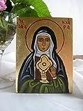 St Clare of Assisi, Santa Clara, byzantine catholic icon on wood prayer wall