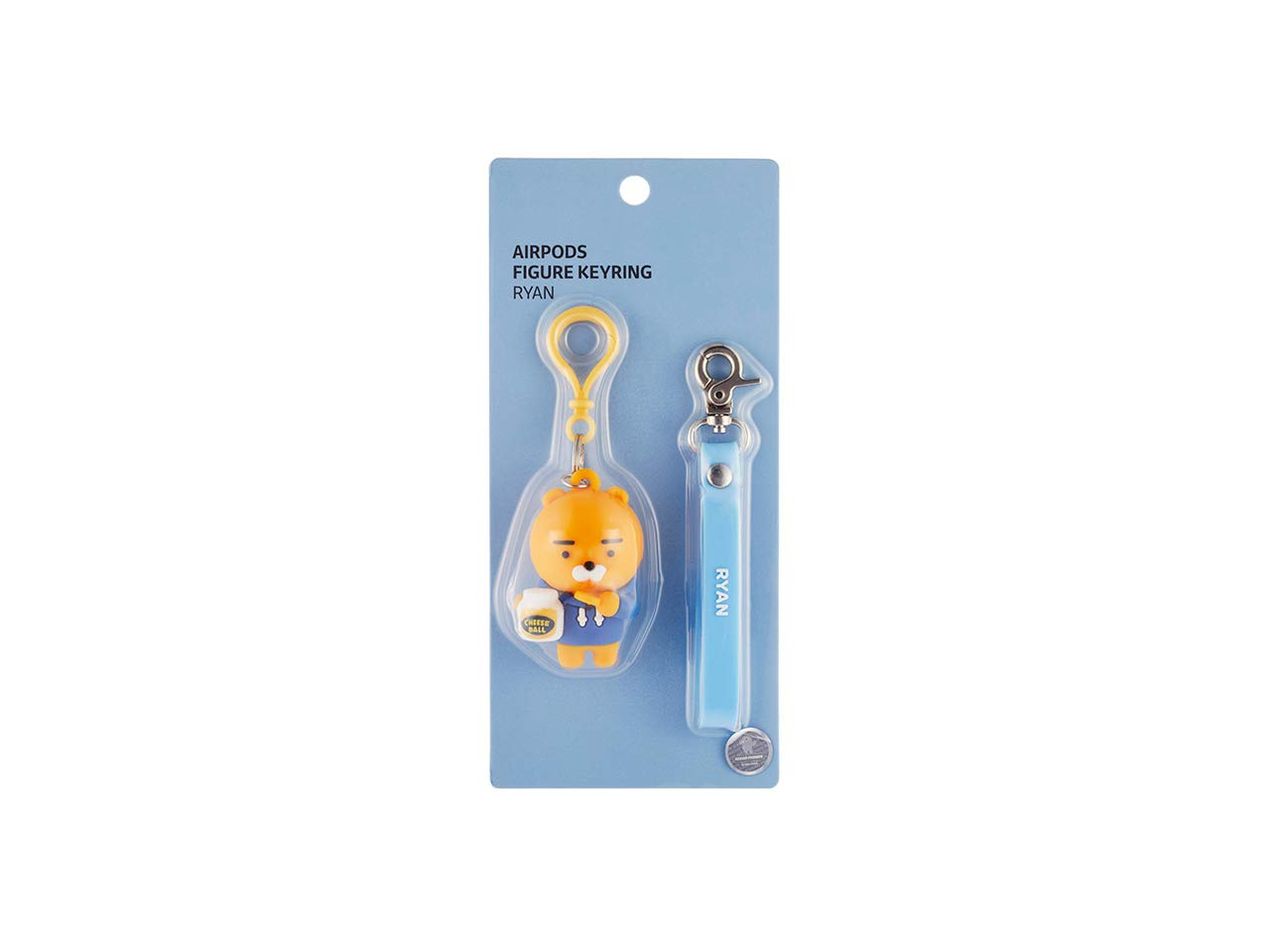 KAKAO FRIENDS Official- Figure Key Ring Compatible with AirPods Silicone Case (Ryan)