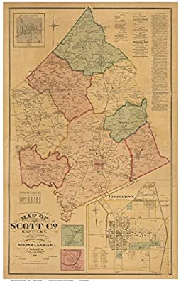 Scott County Kentucky 1879 - Wall Map with Homeowner Names - Old Map Reprint