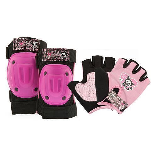 Skelanimals - Cute and Sporty Protective Gear for Girls (ages 5-8).....For Skateboarding, Bicycle, and Outdoor Fun - Knee and Elbow Guards + Gloves.