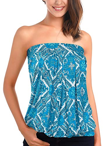 (DJT Women's Sleeveless Stretchy Pleated Tube Top X-Large Blue Floral #3)