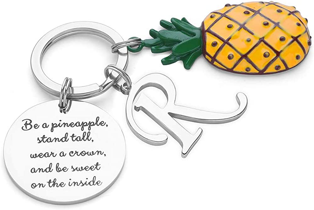 Pineapple Gifts Initial Charm Keychain - Be a Pineapple Keychain Gifts for Her