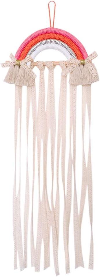 Macram\u00e9 Bow Clip Holder Boho Girls Hair Accessories Organizer Hair bow hanger Hair Clip holder Accessory Holder Boho Bow Holder