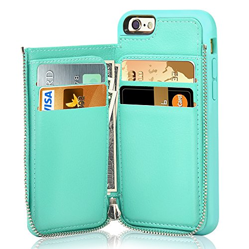 LAMEEKU iPhone 6s Wallet Case, iPhone 6 Card Holder Case, Shockproof iPhone 6 Leather Cases with Credit Card Slot Zipper Wallet Purse Money Pockets, Protective Cover for Apple 6/6s- Mint Green]()