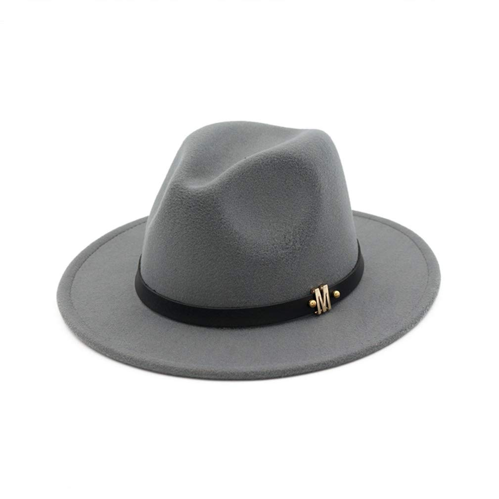 RXIN Unisex Wool Panama Felt Hat Wide Brim Jazz Fedora Hats M Letter Leather Band Decorated Formal Hat Trilby