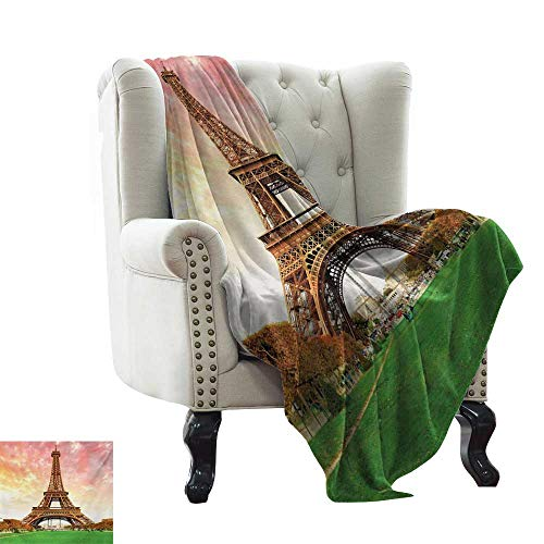 (Throw Blanket for Couch Eiffel Tower,Eiffel Tower Colorful Sky Grass Nature European Clouds Photography Artistic,Coral Brown Soft Summer Cooling Lightweight Bed Blanket 30