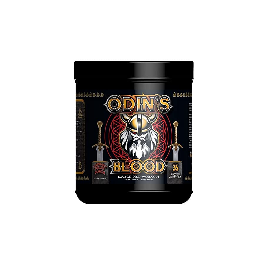 ODIN'S BLOOD Savage Pre Workout Consume Conquer Repeat ODIN COMMANDS YOU! Majestic Pumps God Like Focus Legendary Fruit Punch Flavor
