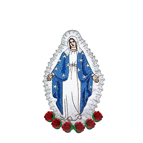 (Embroidered Virgin Mary Applique Patch Silver Metallic Santa Maria Motif (No Letters))