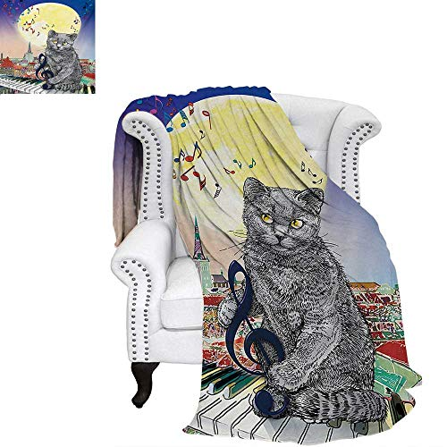 warmfamily City Summer Quilt Comforter Musical Notes Cat with The Keyboard on Rooftops in Night Sky Old Town Full Moon Art Print Digital Printing Blanket 70