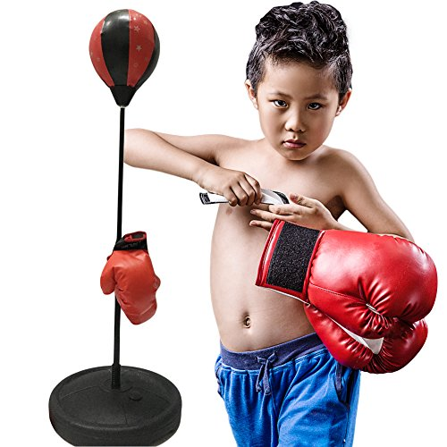 Punching bag with Boxing Gloves Speed Ball Adjustable Boxing Set with 1 Pair Gloves and Hand Air Pump for Anti-Stress Fitness for Kids and Adults