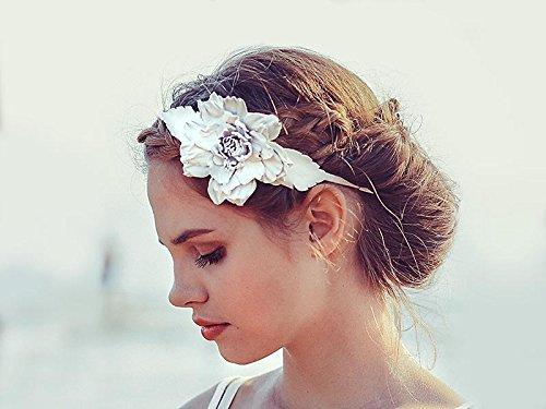 Amazon.com  White leather flower headband fascinator wedding boho  Handmade c786b5bc6a1