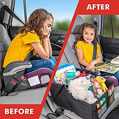 Lusso Gear Car Seat Organizer for Front or Backseat with Red Stitching Great for Adults & Kids Featuring 9 Storage Compartments for Toys, Magazines, Tissues, Maps, Books, Documents, Games & More: Automotive