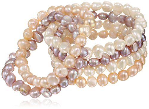 TARA Pearls Set of Six Multi-Color Freshwater Cultured Pearl Stretch Bracelets, 7-8mm, ()