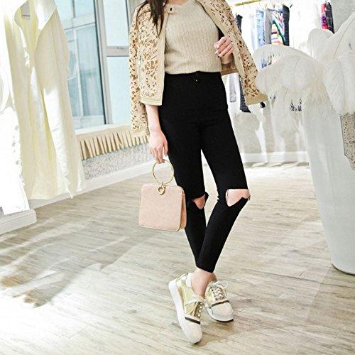 COOLCEPT Mujer Moda Cordones Court Zapatos En aumento Bombas Zapato Cerrado Zapatos Oro