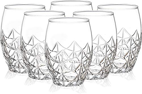 Drinking Glasses for Water, Juice, Beer, Wine and Cocktails, Set of 6, Clear Tempered Glass Hand Cut Tumblers, Glassware…