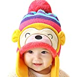 Luoke Winter Baby Boy Girl Kid Toddler Infant Cotton Knit Monkey Warm Hat Cap (Hot pink)