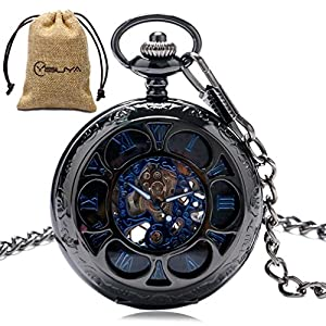 Vintage Pocket Watch Roman Numerals Scale Mechanical Mens Womens Watch with Chain Christmas Graduation Birthday Gifts Fathers Day