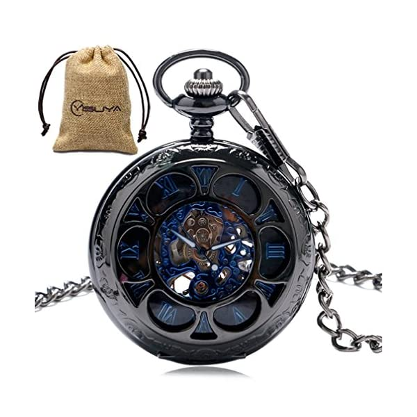 Luxury Men Pocket Watch with Chain Roman Numberal Hollow Steampunk Skeleton Mechanical Watches 3