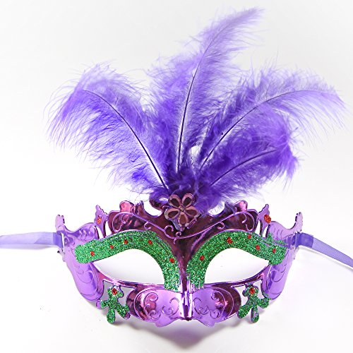 C&L Women's Halloween Feather Topped Masquerade Mask (Purple) - Small Frankenstein Decoration Display