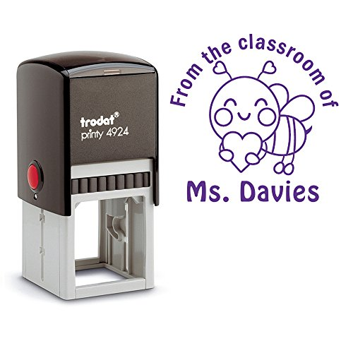 Purple Ink, From the Classroom of Teacher Stamp Honey Bee Holding a Heart Library Stamper Self Inking Personalized Custom Large Round 2 Lines Customized Personal Teacher Appreciation Christmas Gift