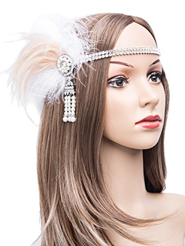 Gatsby Flapper Feather Crystal Headband 1920s Headpiece Vintage Wedding Accessories(White) (Flapper Apparel)