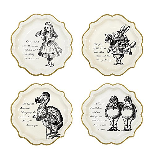 Talking Tables Truly Alice 9 Alice in Wonderland Mad Hatter Party Paper Plates with Gold Trim for a Tea Party or Birthday, Cream/Gold (24 Pack) ()
