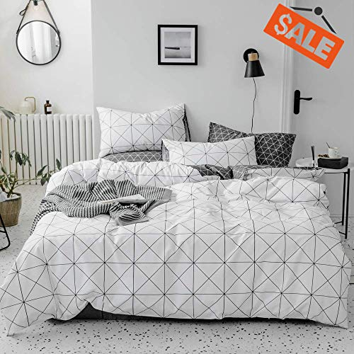 VClife 3 Pieces Bedding Sets White Black-Gray Geometric Pattern Queen Size Bedding Duvet Cover Sets 1 Duvet Cover and 2 Pillowcases Breathable Lightweight ()