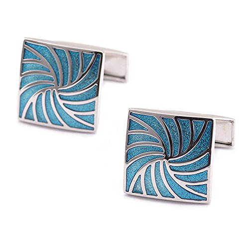 SMOK OKO Silver Fashion Square Blue Swirling Pattern Creative 2 PCS Mens Shirts Cufflinks (Silver Cufflinks Pattern)