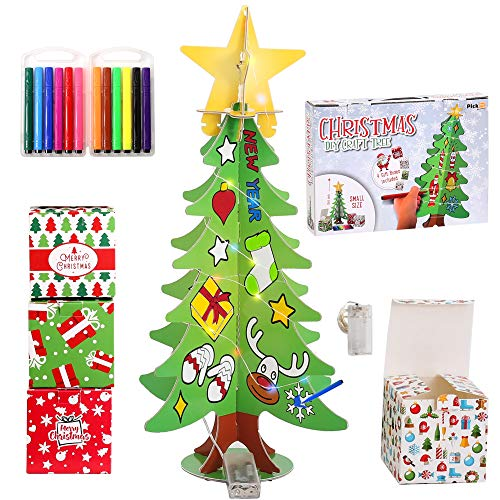 PICKME DIY Christmas Tree Craft for Kids Xmas Gifts | 6Pcs 1.6ft 3D Christmas Tree Toy with 12 Paint Markers, 4 Craft Gift Boxes, 2m LED Strip Light (Thanksgiving For The Gift Of A Child)