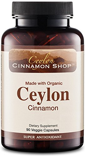 Organic Ceylon Cinnamon (100% Certified) Supplement, 90 Capsules